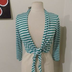 CHICO'S Green and White Striped Cardi, 0 (size 4)